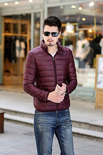 Quibine Homme Doudoune Léger Manteau Zipper Jacket Chaud D'hiver Bordeaux