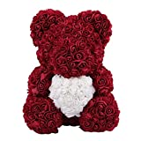 CARDMOE Für Immer Rose Blume Teddybär Puppe, Valentinstag künstliche Rose Teddybär Puppen,...