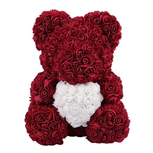 XINGXINGFAN Valentinstag Romantische künstliche Rose Teddybär Rose Geschenk Rose Puppe Liebe Herzform Muster für Hochzeit Party Valentinstag Geburtstag, Dark Red Heart, Heart-36CM -