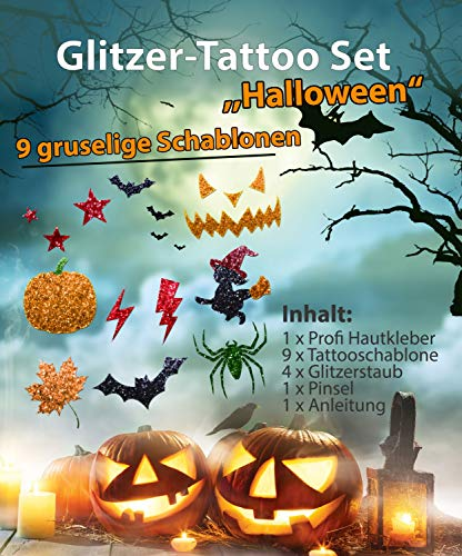 Glitzer Tattoo Set Kinder HALLOWEEN mit Profihautkleber, 1 Pinsel, 4 Glitzer, 9 Tattooschablonen -