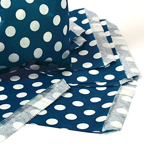25 Papiertüten / Geschenktüten / Candy Paper Bags - petrol (blau mit grünstich) mit weißen Punkten -