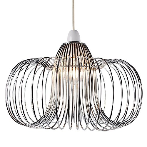 LED-Pendelleuchte Moderne Chrom-Metalldraht-Laterne-Form-Deckenleuchte -