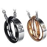 Oidea 1 Paar(2PCS) Freundschaftsketten mit Anhänger, Krone Ring Edelstahl Partner-Anhänger mit 45cm und 55cm Kette, Halskette Halsband für Damen Herren (Ringe Anhänger)