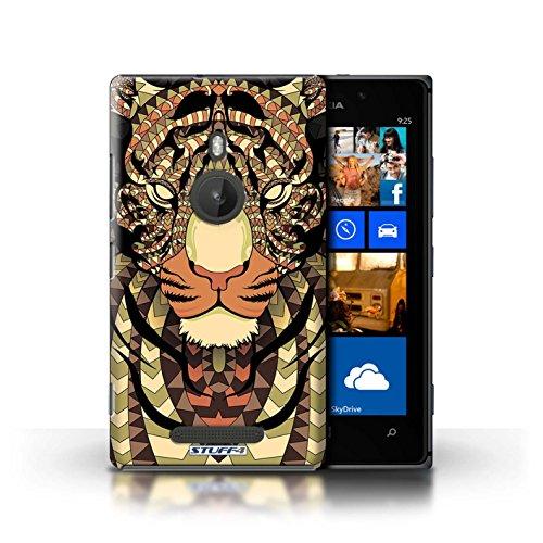 Coque en plastique pour Nokia Lumia 925 Collection Motif Animaux Aztec - Loup-Bleu Tigre-Sépia