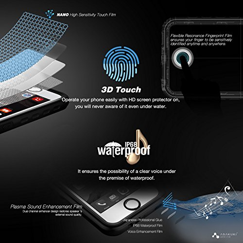 iPhone 6 6s Plus Case - IP68 Waterproof Case by ASAKUKI Full Body Case with Screen Protector Shockproof Scratchproof Dustproof iPhone 6+ 6s+ Case