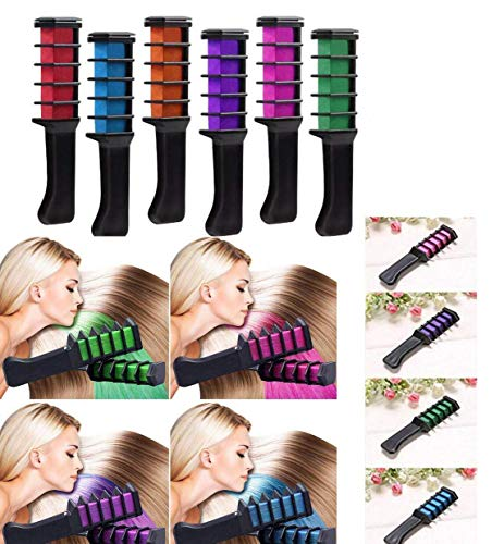 Vianber Temporäre Haarfarbe Kamm, waschbar 6 Farben Safe Dye Haar DIY Sets für Mädchen für Anzieh und Party Cosplay - Haar-farbe-safe