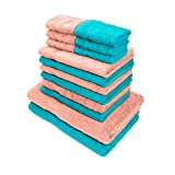 #5: Swiss Republic Towels Set- Signature collection 630 GSM made with 100% ring spun extra soft cotton with quick dry and double stitch line for extra long durability - set of 14 towels with 2 YEARS replacement GUARANTEE. (Light Pink/Light Blue)