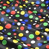 Schwarz Happy und Bright farbigen Multi Spot Satin Stoff