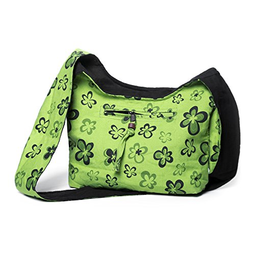 Borsa A Tracolla Art And Magic Con Fiori Design Verde Limone / Lemongreen