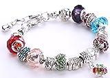 Minetom Donne Ragazze Gioielli Bracciali Moda Diy Strass Bicchiere & Cristallo Perline Metallo Catena Multicolore