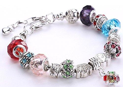 Minetom Donne Ragazze Gioielli Bracciali Moda Diy Strass Bicchiere & Cristallo Perline Metallo Catena