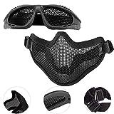 EMAGEREN Airsoft Ensemble Masque et Lunettes, Masque Demi Visage Masque Airsoft Paintball Demi Masque Outdoor Protection L'oreille...