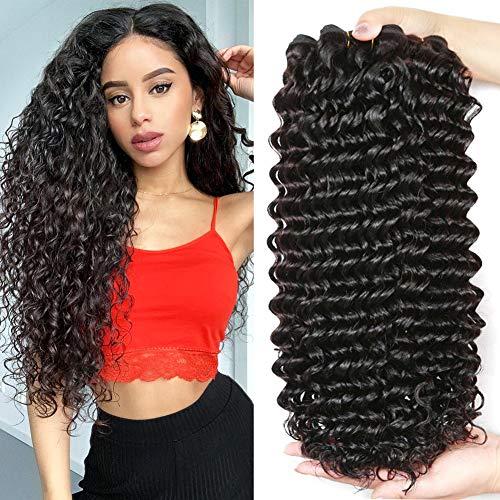 FZY Curly Human Hair Bundles Haar bündel Brazilian Hair Deep Wave brasilianischen Haar bündel 100% menschliche Haarverlängerungen natual schwarze Farbe 300g insgesamt 16 18 20 Zoll
