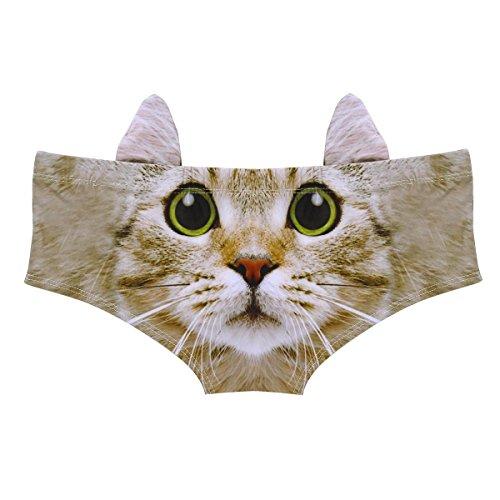 rdruck Briefs Unterhosen Hipster Unterwäsche Dessous Bikinislips Schlüpfer Low Rise Muster C One Size (Katze Kostüme Für Tween Mädchen)