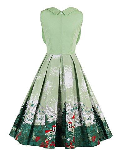 MODETREND Damen Elegante Kleider mit Blüte Drucken Swing Festkleid Quadrat-Kragen Ärmellos Ballkleid Cocktailkleid Sommerkleid Kleid Grün