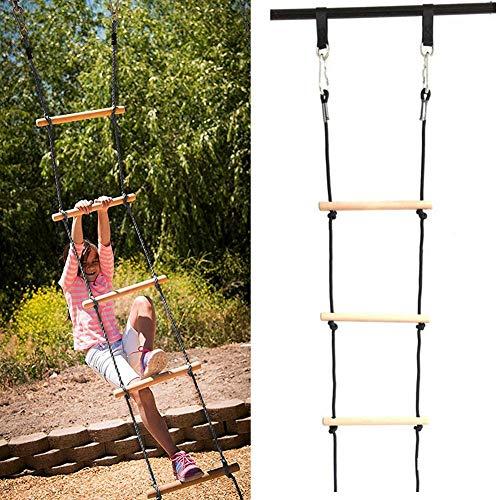 PER Kinder Strickleiter Outdoor Spielen Klettern Strickleiter Holz Schaukel Strickleiter für Klettergerüst Baumhaus Spielhaus - Tragfähigkeit bis 100kg