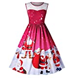 SHINEHUA Kleider Damen Kleid Elegante Kleider Lange Kleider Frauen Sommer Festliche Damenkleider Knielang Frauen Mädchen Weihnachten Kleid Santa Weihnachten Geschenk Kleid(Rot Ⅱ,small)
