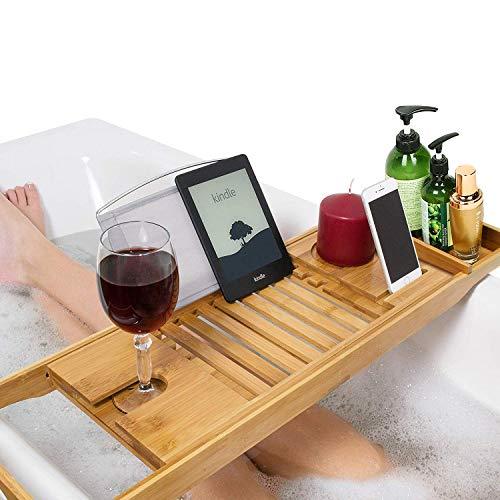 Unuber Bambus Badewannenablage ausziehbar mit Weinglas-Halterung und iPad-Buch-Ablage, 70-104 x 6,4 x 23,6 cm (B x H x T) - 70% Bambus