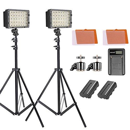 Neewer Kit di Luce Pannello LED Dimmerabile con Stativo,Batteria a Litio 2600mAh/Caricabatterie a USB/Filtri Colorati/Testa a Sfera per Reflex Digitali Videocamere Canon Nikon Sony