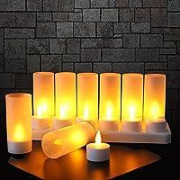 Expower Lot de 12 Bougie LED Rechargeable Bougie Électrique LED Flamme Vacillante avec Station de Charge Décoration pour Noël Anniversaire Mariage Dîner Votive Table Café Bar Restaurant Hôtel
