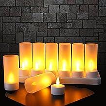 Expower 12LED sin llama velas, velas recargables, alimentado por batería sin llama velas inalámbricos velas LED de Navidad velas vela luces LED lámpara velas de cera con estación de carga