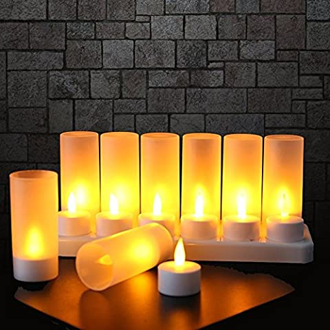 Expower 12pcs LED Tealight Rechargeable Flameless Candle Light Realistic Dancing Flame, Gift Decoration for Party Holiday Christmas