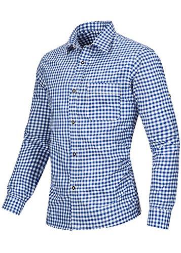 Herren Männer Trachtenhemd kariert in 6 verschiedenen Farben | Slim fit | Krempelärmel | Oktoberfest Hemd | 100% Baumwolle Jeans (Dunkelblau)