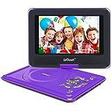 """ieGeek Lecteur DVD Portable 12.5"""" avec Écran Pivotant Compatible Carte SD et USB Chargeur de Voiture et les formats Compatibles avec MP3/ MP4/AVI/RMVB/TXT/JPEG - Violet"""