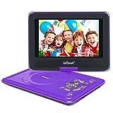 ieGeek Lettore DVD Portatile Display 12.5 Pollici regolabile, 5 ore Batteria ricaricabile, supporto schedeSD e pennette USB, avvio diretto di MP4/AVI/RMVB/MP3/JPEG, Viola