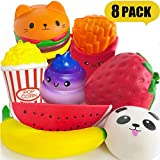 PARTYKA Squishies Pack - Squishies Jumbo Squishys Pack for Girls and Boys Squishies Slow Rising Scented Stress Reliever for Adults Squeeze Toys as Gift Kids Squishy 8pcs