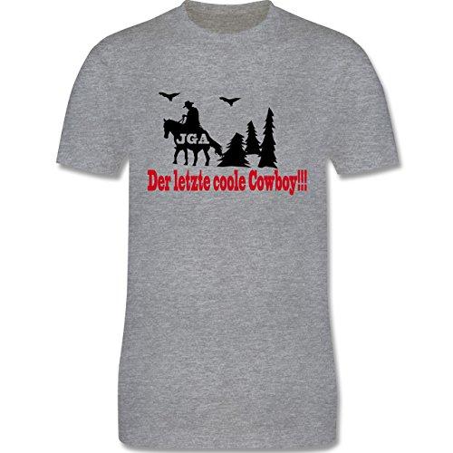 JGA Junggesellenabschied - Der letzte coole Cowboy - Herren Premium T-Shirt Grau Meliert