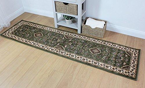 Klassischer Teppich Beige, Grün, Rot, Schwarz und Grau, kleine und große Teppiche, Läufer, Polypropylen, grün, 60x230cm (2'x7'7'') - Schwarz Persian Rug