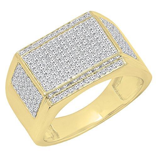 Herren-Ring 10 Karat Gelbgold rund weißer Diamant Hip Hop Pink Größe 10 (Pave Diamond Wedding Ring)