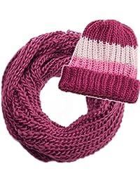 style3 Schal und Mütze Kombi-Set Winter Loopschal und Mütze in Grobstrick