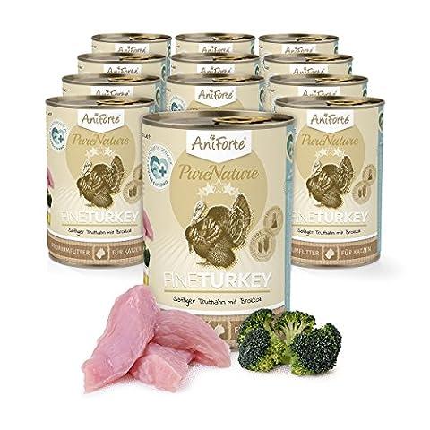 AniForte® PureNature Katzenfutter Fine Turkey 12 x 400g - Naturprodukt für Katzen (Terra Bio-zucker)