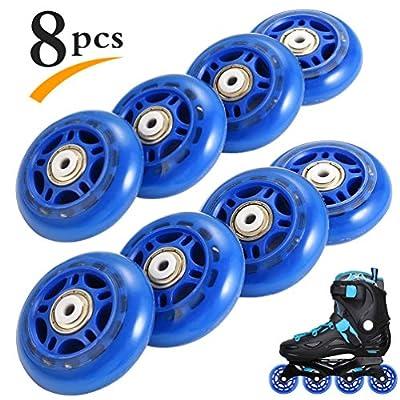 RUNACC Recreational Roller Skate Rollen Praktische Rollerblade Räder stabiler Skate Wheel Set mit Luminous Design, Geeignet für und Roller Skate, 8 Stück (Blau)