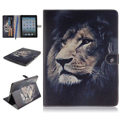 iPad 2/3/4 Funda,Careynoce Atrapasueños León Tigre Pattern Flip PU Cuero Carcasas Funda Case Cover para Apple iPad 2 iPad 3 iPad 4 (9.7 pulgada) - León