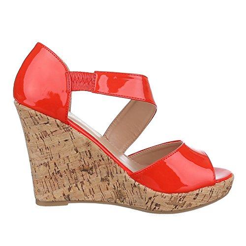 Damen Schuhe, B8012Y-SP, SANDALETTEN FRANSEN KEIL WEDGES PUMPS Rot
