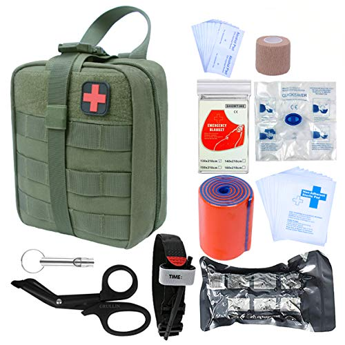 GRULLIN Survival First Aid Kit, 39 Pieces Tactical Molle EMT IFAK Pouch  Emergency First Aid Survival Kits Trauma Bag Outdoor Gear for Camping  Hiking