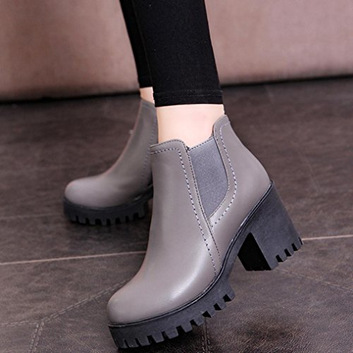 Longra Donne scarpe classiche di muffin femminili a punta rotonda Grigio