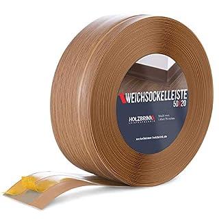 HOLZBRINK Skirting Board Soft Self Adhesive Light Oak 50x20 mm 5 m PVC Flexible Baseboard Self- Stick Transition Profile Wall Caulk Strip