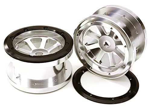 INTEGY RC Model hop-ups obm-23031silver CNC machined Alloy 8 Spoke Beadlock 2.2 Wheels (2) for Axial Ridgecrest & Wraith