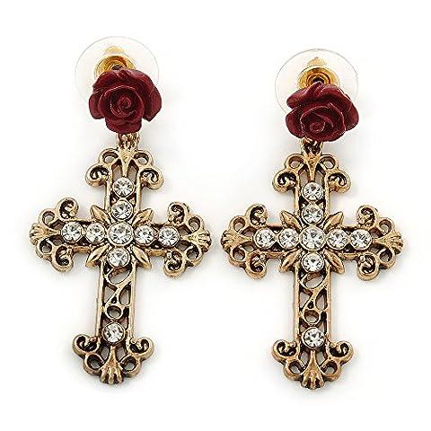 Vintage Inspired Filigree, Crystal Cross With Rose Drop Earrings In Antique Gold Metal - 45mm Length