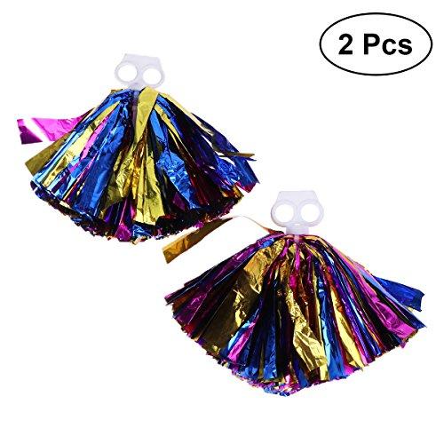 STOBOK 2er Cheerleading Poms Kunststoff Cheerleader Pom Poms 30cm (Poms Wettbewerb Kostüme)