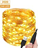 Stringa Luci LED USB, Litogo 24M 240 LED Dimmerabile Catena Luminosa Filo Rame Ghirlanda Luminosa Impermeabile Lucine LED Decorative per Camere Natale Interni e Esterni, Casa, Feste, Matrimonio, DIY