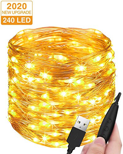 Stringa Luci LED USB, Litogo 24M 240 LED Dimmerabile Catena Luminosa Filo Rame Ghirlanda...