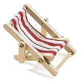 2 X Deko-Liegestuhl, Holz, rot-weißer Stoffsitz, 5 x 3,5 cm