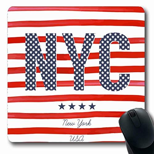 Mousepads Tee Blue America NYC Grafiken Americana College Red American Badge City Design Überlange Form rutschfeste Gaming-Mausunterlage Gummi-Matte,Gummimatte 11,8