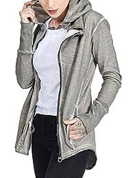trueprodigy Casual Mujer marca Sudadera Zip basico ropa retro vintage rock vestir moda con capucha manga larga slim fit designer cool urban fashion sueter hoodie color gris 2563115-5203
