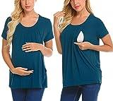 Unibelle Damen Still Umstands-Top Lagendesign Farbblock-Design Kurzarm Blau XL